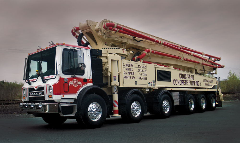A Cousineau Concrete Pumping truck. We also operate OCP Construction Supplies